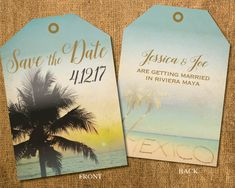 Beach Style Luggage Tag Save the Date tickets showcasing palms against the sunset and wedding location written in the sand. Retro style, antique and vintage colors, aged paper background.  Save the date is 5..25 x 3.75printed on 100 lb. carolina card stock for good durability and light coating. Comes with cream envelopes. Minimum print order of 20 sets (invite/envelope) x $4/set. Pricing per set decreases with quantities ordered ... Inquire.  This design can also be prepared as a hi-res…