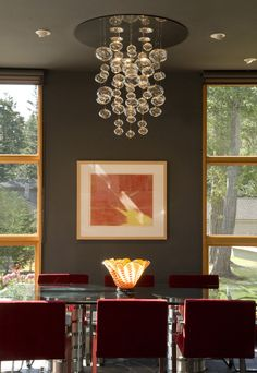 Amber Glass Chandelier Dining Room Eclectic with Art Ceiling and Wall