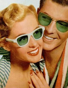 His and Hers green glass lenses