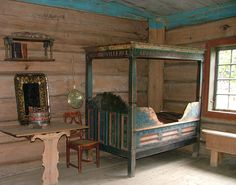 Old Alcove at Maihaugen Open Air Museum in Lillehammer, Norway - From THE ESSENCE OF THE GOOD LIFE™    http://www.pinterest.com/ConceptDesigner/   https://www.facebook.com/pages/The-Essence-of-the-Good-Life/367136923392157