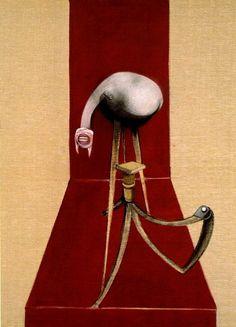 Francis Bacon, Segunda versión del tríptico 1 944 (1 mil novecientas ochenta y ocho), pintura al óleo y pintura acrílica sobre lienzos 3, cada uno de 147,5 x 198,0 cm. Colección de la Tate Gallery, Londres, Reino Unido. Vía WebMuseo, París .