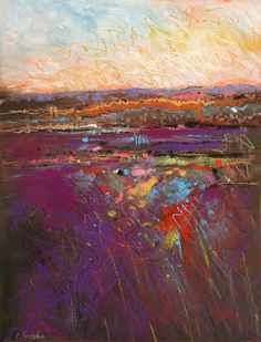 Carol Engles Art: March Sunset, abstract landscape by Carol Engles