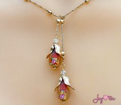 Flower Lily Neckalce,Water Drop Bead Neckalce,White Lampwork Necklace,Origami Lily Necklace,Red Lariat Set,Lampwork Gold Necklace by JoyOterJewelry on Etsy