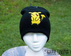 Pokemon Pikachu Beanie Toboggan Hat Skull Cap Winter Warm Head Accessory Black yellow Embroidered unisex adult teen