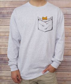 Mens Clothing  NOTE: SWEATSHIRT AND HOODIE SIZES ARE UNISEX  Bee's Pocket Tees are cotton pocketless shirts with custom designs that create clever and imaginative virtual pockets! With over 40 original, hand-drawn designs, be sure to check out our entire shop to find the perfect pocket tee for you, or a unique gift for anyone