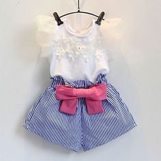 Girls' Clothing (Sizes 4 & Up) Toddler Kids Baby Girls Summer Outfits Lace T-Shirt Tops+Shorts Clothes Set Floral Blouse Outfit, Dress Shorts Outfit, Bluse Outfit, Dress Outfits, Girls Summer Outfits, Dresses Kids Girl, Toddler Girl Outfits, Short Outfits, Toddler Girls