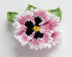 Irish Crochet Pansy Pin Realistic Ruffled Pansy by FoxStitchDesign