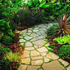 Flagstone path like this one. Its wide and gentle curves form generous planting pockets filled with Mazus reptans, a flowering ground cover. We are actually making a flagstone extension sidewalk and I wish we would have used the flowering ground cover. Diy Garden, Dream Garden, Garden Paths, Garden Landscaping, Landscaping Ideas, Garden Paving, Backyard Projects, Garden Projects, Outdoor Walkway