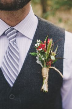 Rustic, forest inspired boutonniere: http://www.stylemepretty.com/little-black-book-blog/2014/05/22/intimate-southern-forest-elopement/ | Photography: Hyer Images - http://hyerimages.com/