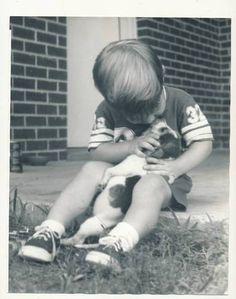 Vintage Photo 8 x 10 Old Picture Little Boy Kissing Beagle Puppy Dog | eBay