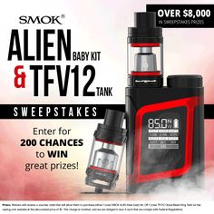 Win! $8000 of SMOK prizes up for grabs!  http://swee.ps/UbbzQYbSO