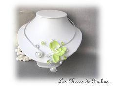 Collier mariage vert anis et blanc Orchidée Anaïs 3 Facettes a : Collier par lesnocesdepauline