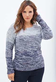 Marled Gradient Knit Sweater | FOREVER21 PLUS - 2000058610