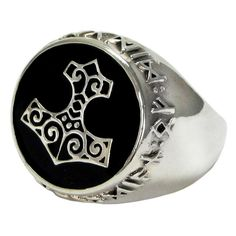 Norse Viking Thor Hammer signet ring in sterling silver, encircled with the Futhark Rune alphabet.