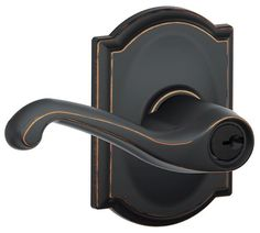 View the Schlage F51-FLA-CAM Flair Keyed Entry F51A Panic Proof Door Lever with Camelot Rosette at Handlesets.com.