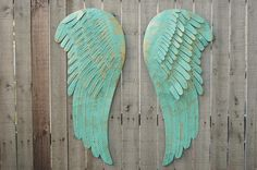 Large Angel Wings Wall Decor Shabby Chic Aqua Gold Metal Upcycled Hand Painted Shabby Chic Decor Boho Decor Nursery Decor (229.00 USD) by TheVintageArtistry