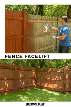 With Rust-Oleum Renovator Fence Stain, give your fence an easy facelift - and bring a smile to your face every time you pass by. Backyard Projects, Outdoor Projects, Backyard Patio, Garden Projects, Backyard Landscaping, Home Projects, Garden Ideas, Outdoor Stairs, Fence Stain