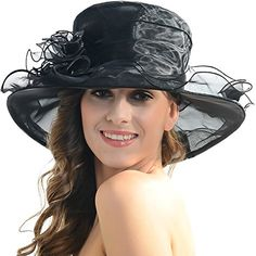 6c91648d4c6 Women Church Kentucky Derby Hat Wedding Bridal Shower Organza Wide Brim Hat  (9 Colors)