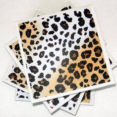 Leopard Cheetah Print Ceramic Coasters Set of by CloudNineDesignz, $18.00