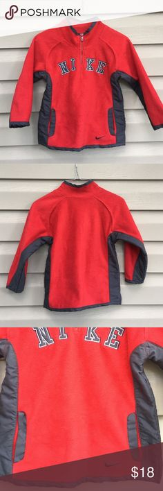 Nike boys pullover fleece 1/4 zip fleece with pockets. 100% polyester cherry red (appears orange in picture) and gray trim Nike Shirts & Tops Sweatshirts & Hoodies
