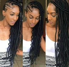 85 Box Braids Hairstyles for Black Women - Hairstyles Trends Shaved Side Hairstyles, Faux Locs Hairstyles, Crochet Braids Hairstyles, Wedding Hairstyles, Hairstyles 2016, Easy Hairstyles, Medium Hairstyles, Braids With Shaved Sides, Curly Hair Styles
