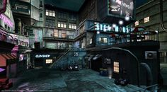 the district by freelancerart on DeviantArt Cyberpunk City, Futuristic City, Sci Fi City, Future Buildings, High Building, Sci Fi Environment, Red Light District, Shadowrun, City Streets