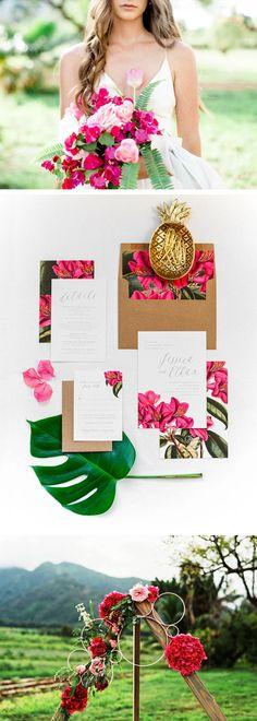 Vintage Tropical Wedding Inspiration designed by Citrus Press Co. Coastal Wedding Invitation, Tropical Wedding Invitation, Beach Wedding Invite, Hawaiian Wedding Invite, Destination Wedding Invitation, Boho Wedding