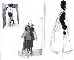 Fashion Sketchbook - fashion drawings & the development of a design // Seena Shahmardi Fashion Illustration Sketches, Fashion Sketchbook, Fashion Sketches, Fashion Drawings, Csm Sketchbook, Illustrations, Fashion Portfolio, Portfolio Design, World Of Fashion