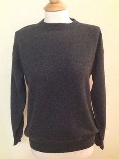 100% Cashmere Sweater Small Medium Charcoal Gray Crew Neck MENS #BostonProper #Crewneck