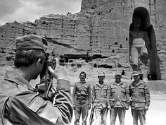 Soviet troops - Afghanistan, 1980's (the ancient statues in the background would later be destroyed by the Taliban when they controlled the country during the 1990's)