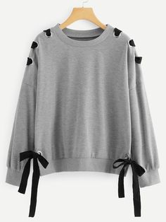 To find out about the Drop Shoulder Knot Side Sweatshirt at SHEIN, part of our latest Sweatshirts ready to shop online today! Mode Outfits, Girl Outfits, Casual Outfits, Fashion Outfits, Fashion Ideas, Kawaii Clothes, Teenager Outfits, Korean Fashion, Girl Fashion