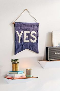 UO X Secret Holiday & Co. Yes Banner - Urban Outfitters from Urban Outfitters. Shop more products from Urban Outfitters on Wanelo. Dorm Room Styles, Ashley Brown, Wall Carpet, Room Accessories, Fashion Room, Carpet Runner, Decoration, Wall Decals, Urban Outfitters