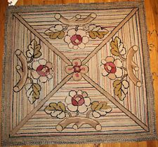 Hand made Square Antique American hooked rug 3.4' x 3.4'  1920