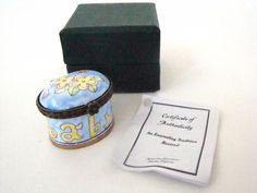 KELVIN CHEN Enamel Hinged Box Baby with Flowers Small Oval EH519
