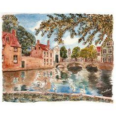 Bruges en balade,  aquarelle, Norbert CONSALVO