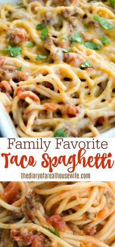 I LOVE this recipe. Perfect family dinner idea. Taco Spaghetti made with ground beef and noodles. Meat Recipes, Casserole Recipes, Mexican Food Recipes, Cooking Recipes, Healthy Recipes, Recipies, Cake Recipes, Burrito Casserole, Cooking Pork