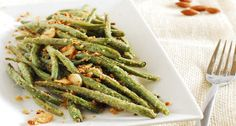 Garlic, Parmesan and almonds roasted green beans