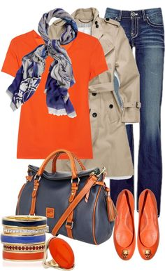 """navy and orange"" by sagramora ❤ liked on Polyvore"