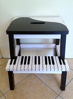 mommo design blog  Bekvam Hacks - piano. Is this too high for a stool for playing toy piano? Probably. But I can dream.