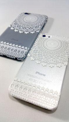 White Henna Mandala Case for iPhone & Samsung