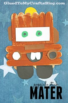 Popsicle Stick Mater – Cars 3 Kid Craft Idea – Disney – Glued To My Kid Craft Tutorials – Crafts Disney Diy, Disney Crafts For Kids, Easy Crafts For Kids, Diy Arts And Crafts, Summer Crafts, Toddler Crafts, Art For Kids, Disney Theme, Disney Pixar