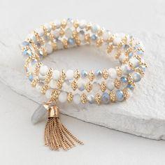 Gray Crystal and Labradorite Multi Strand Stretch Bracelet Bohemian Bracelets, Gemstone Bracelets, Handmade Bracelets, Jewelry Bracelets, Jewelery, Handmade Jewelry, Mom Jewelry, Cute Jewelry, Jewelry Crafts