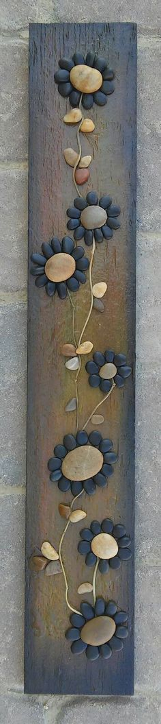 Pebble Art / Rock Art (string of beautiful black flowers) all natural materials incl. reclaimed wood, pebbles, twigs, 30x4 (FREE SHIPPING)