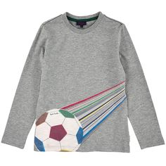 Cotton jersey T-shirt with long sleeves. Round neckline with a stretch ribbed knit trim. Fancy print on the chest. - $ 67.00