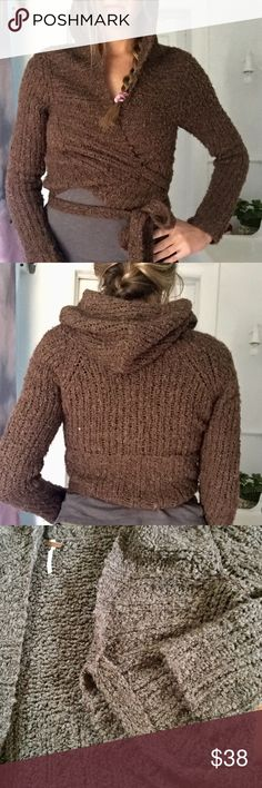 Free People cropped sweater Free People brown hooded cropped wrap sweater - 50% wool 42% acrylic 8% angora rabbit hair - wear it wrapped (as shown in photos) or you can wear it open in the front! Free People Sweaters Shrugs & Ponchos