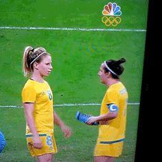 Australian women's soccer/football team hydrating