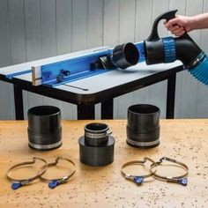 Rockler Dust Right®️️ Quick Change Multi-Port Tool Set - Lets you quickly transfer a single 4'' dust collection hose from tool to tool—ports fit tools with 2-1/2'' or 4'' dust ports.