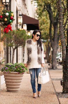 Striped Fur Vest + Pearls