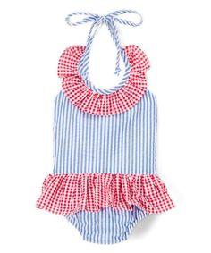 Look what I found on #zulily! Red & Blue Seersucker Skirted One-Piece - Infant, Toddler & Girls #zulilyfinds