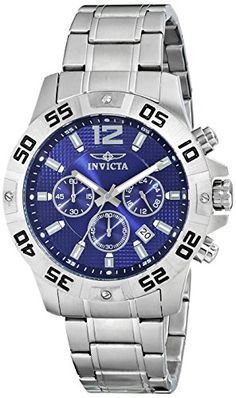 Men's Wrist Watches - Invicta Mens 1502 Chronograph Blue Dial StainlessSteel Watch -- Read more at the image link. Cheap Watches For Men, Affordable Watches, Luxury Watches For Men, Cool Watches, Wrist Watches, Best Sneakers, Stainless Steel Watch, Chronograph, Leather Men